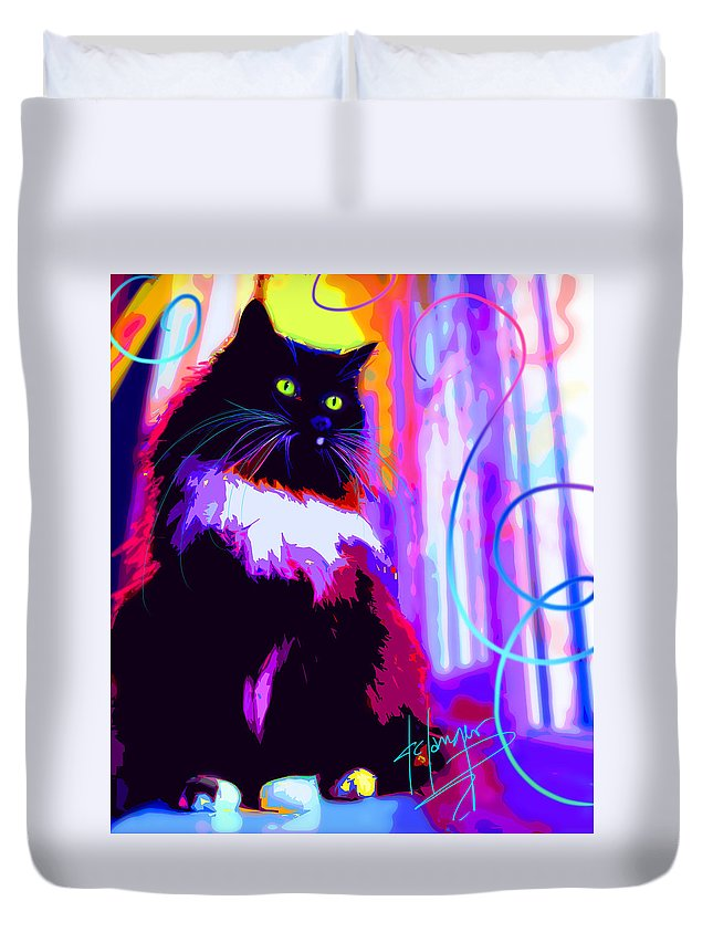 Dizzycats Duvet Cover featuring the painting pOpCat Mambo by DC Langer