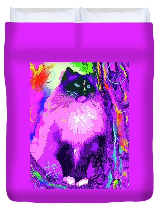 Dizzycats Duvet Cover featuring the painting pOpCat Master Charles by DC Langer