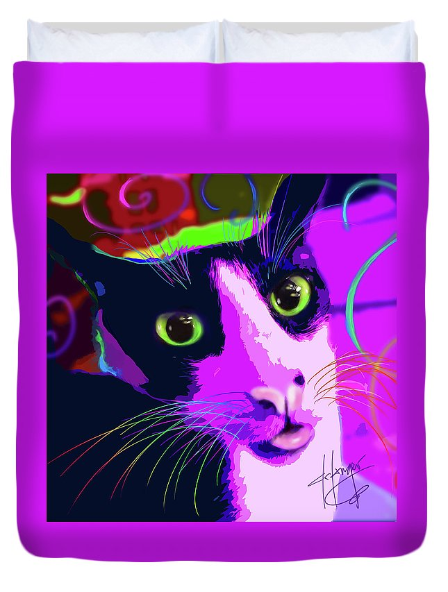 Nebula Duvet Cover featuring the painting pOpCat nebula by DC Langer