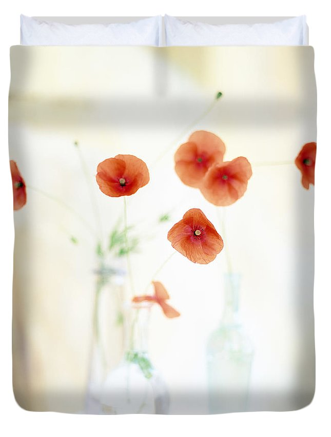 Vase Duvet Cover featuring the photograph Poppies In Vases by Victoria Pearson
