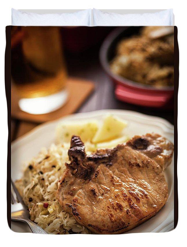 Meat Chop Duvet Cover featuring the photograph Pork Chop And Sauerkraut by Gmvozd
