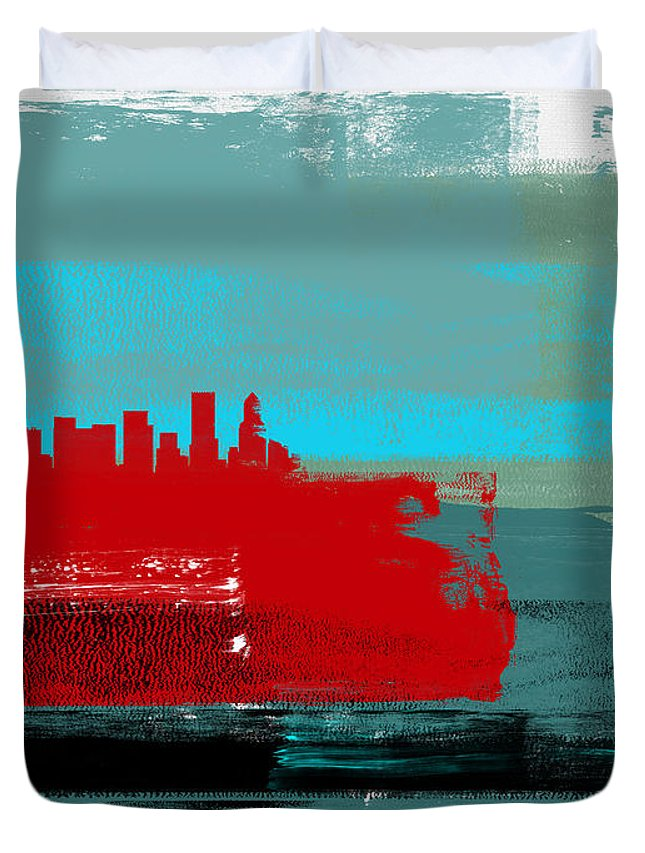 Portland Duvet Cover featuring the mixed media Portland Abstract Skyline I by Naxart Studio