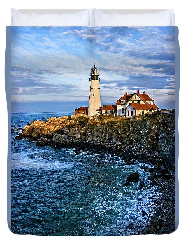 Built Structure Duvet Cover featuring the photograph Portland Head Light by C. Fredrickson Photography