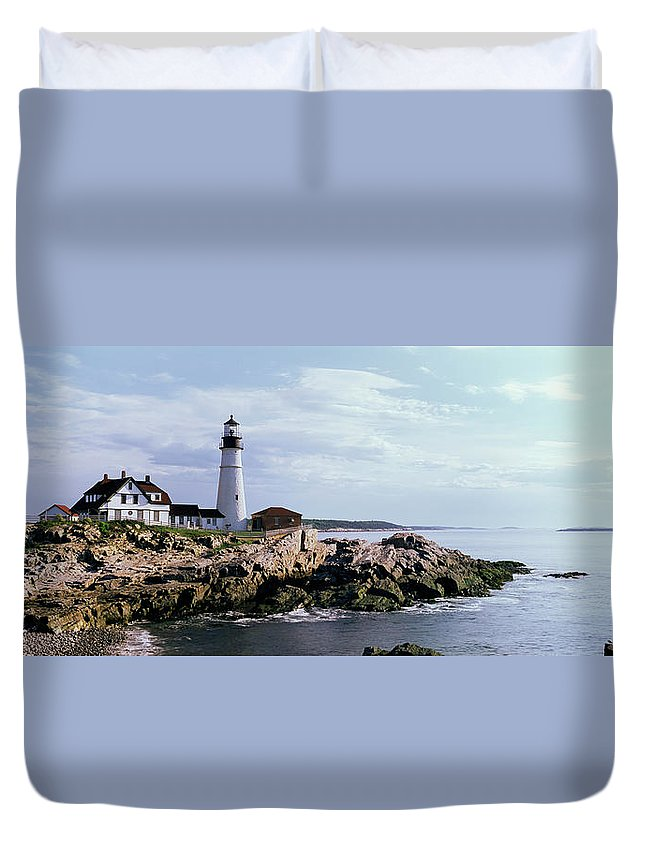 Extreme Terrain Duvet Cover featuring the photograph Portland Head Lighthouse, Cape by Tony Sweet