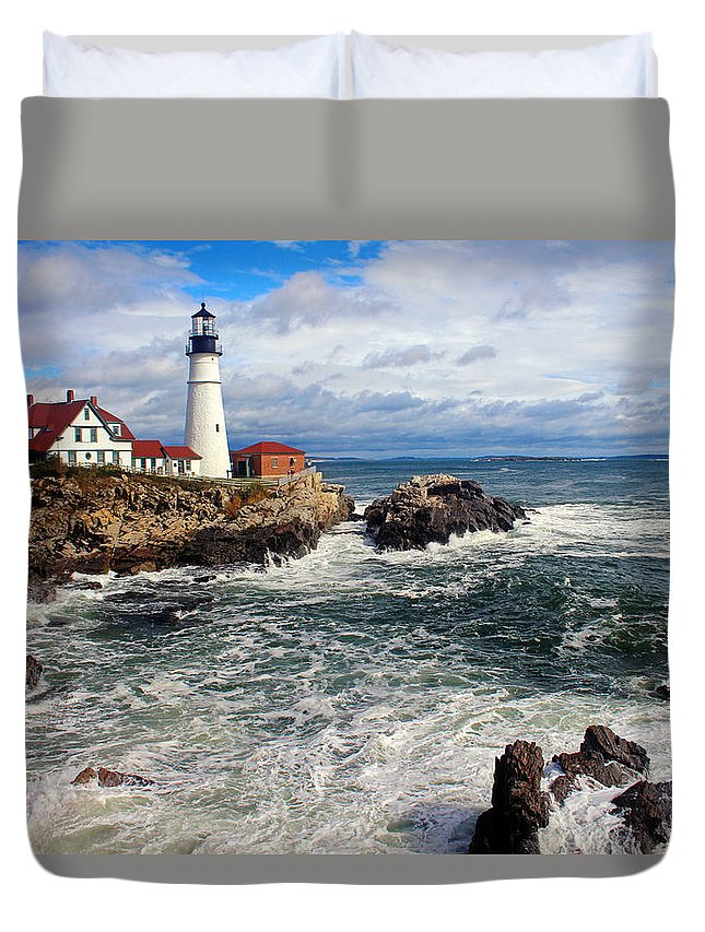 Tranquility Duvet Cover featuring the photograph Portland Head Lighthouse by Jeremy D'entremont, Www.lighthouse.cc