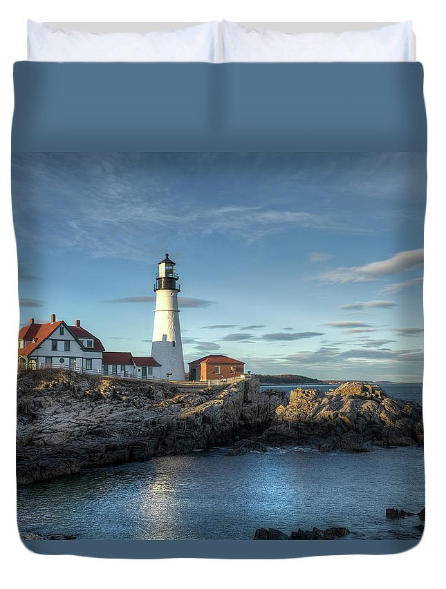 Outdoors Duvet Cover featuring the photograph Portland Head Lighthouse by Kenneth C. Zirkel