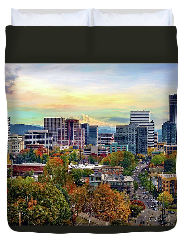 Viewpoint Duvet Cover featuring the photograph Portland Oregon Downtown Cityscape In by David Gn Photography