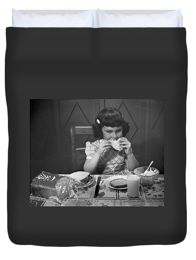 Milk Duvet Cover featuring the photograph Portrait Of Little Girl Eating Buttered by George Marks