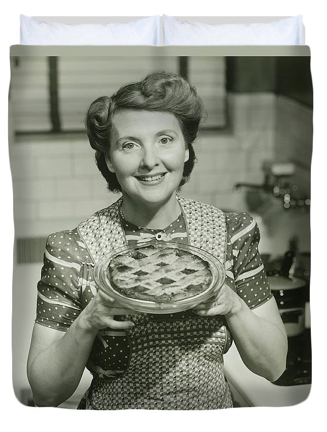 Mature Adult Duvet Cover featuring the photograph Portrait Of Mature Woman Holding Pie by George Marks