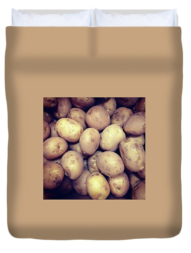 Heap Duvet Cover featuring the photograph Potatoes by Digipub