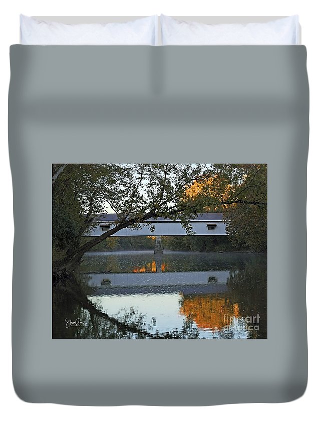 Covered Duvet Cover featuring the photograph Potter's Bridge, Noblesville, Indiana by Steve Gass