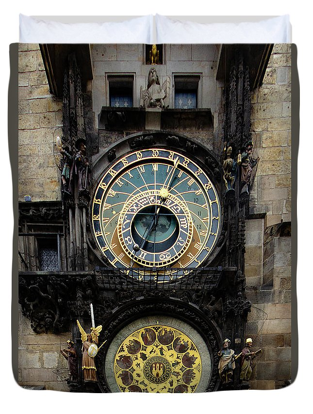 Astronomical Clock Duvet Cover featuring the mixed media Prague Astronomical Clock by Smart Aviation