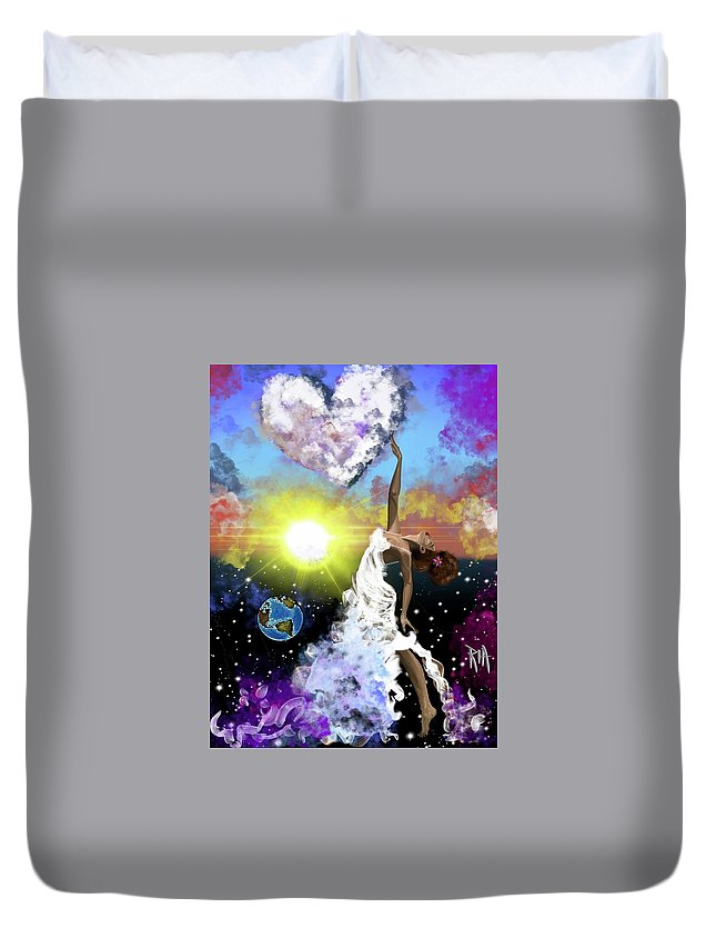 Duvet Cover featuring the painting Prayer before the Sun Sets by Artist RiA