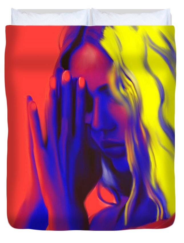 Pray Duvet Cover featuring the painting Prayers For The Forgotten by Jack Bunds