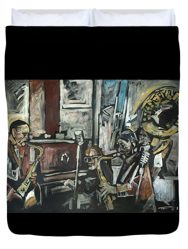 Preservation Hall Duvet Cover featuring the painting Preservation Hall Jazz Band by Tim Nyberg