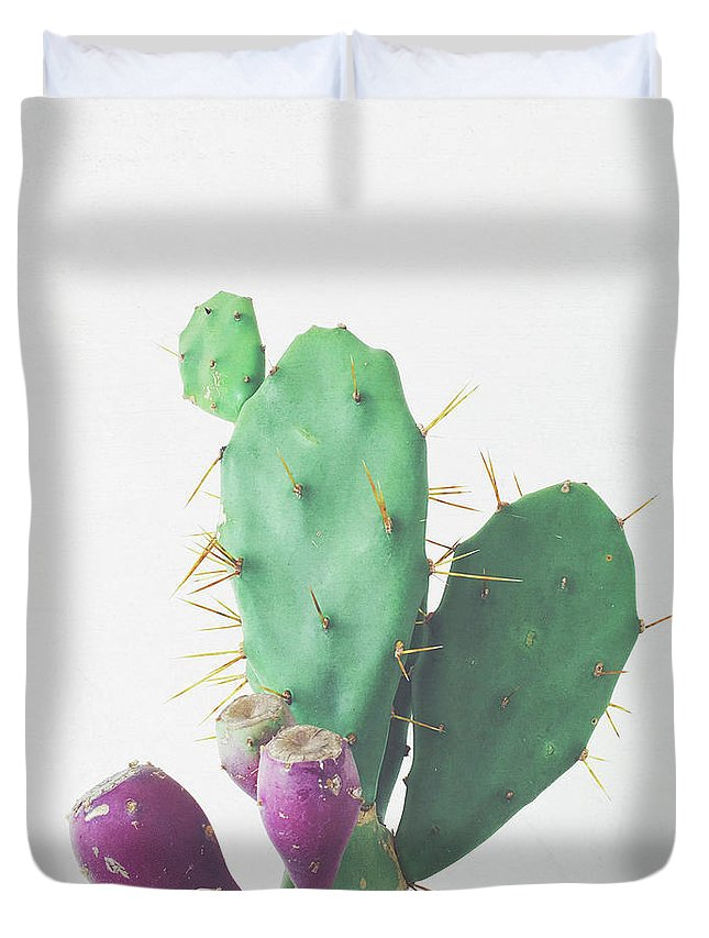 Cactus Duvet Cover featuring the photograph Prickly Pear by Cassia Beck