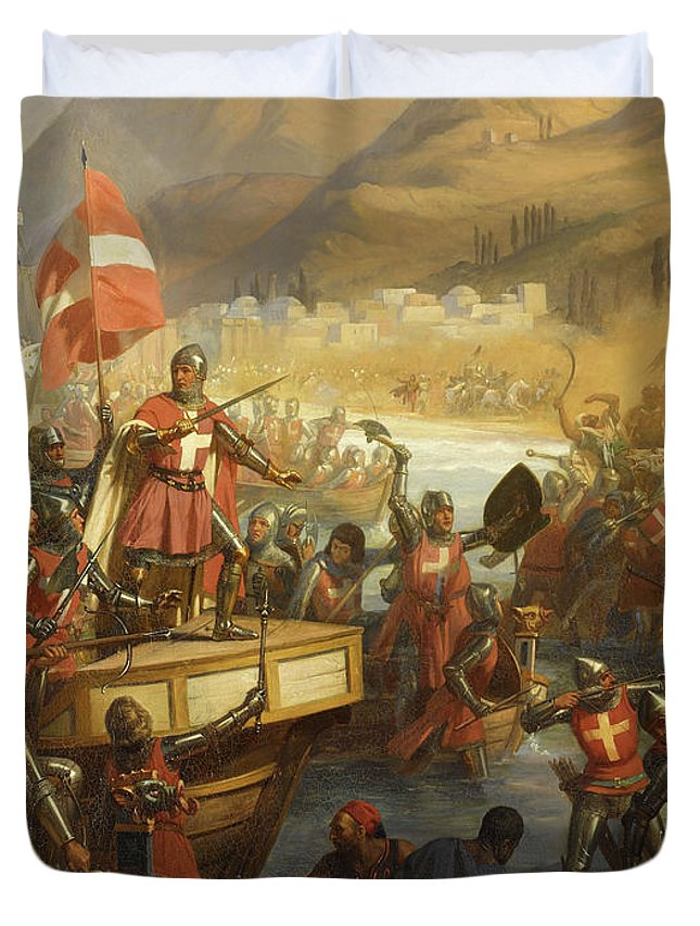 Siege Of Smyrna Duvet Cover featuring the painting Prise Du Chateau De Smyrne, 1344 by Charles-Alexandre Debacq
