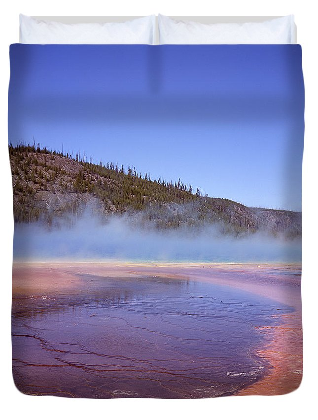 Tranquility Duvet Cover featuring the photograph Prismatic Spring Algae by L. Maile Smith