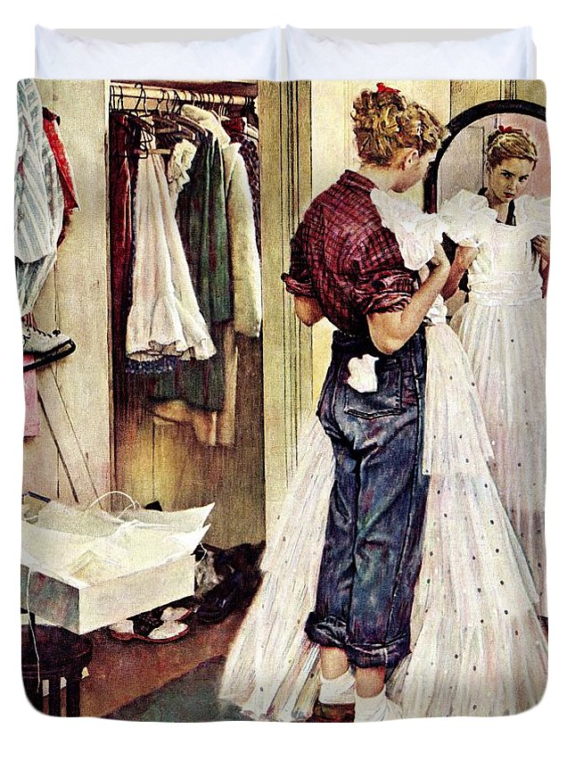 Dresses Duvet Cover featuring the drawing Prom Dress by Norman Rockwell