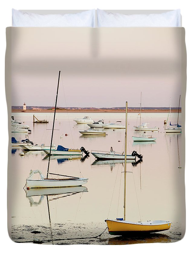 Sailboat Duvet Cover featuring the photograph Provincetown Harbor by Walter Bibikow