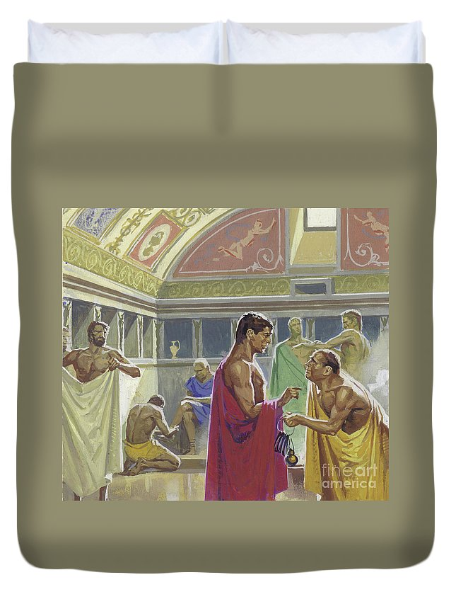 Cleanliness Duvet Cover featuring the painting Public Baths In Ancient Rome by Severino Baraldi