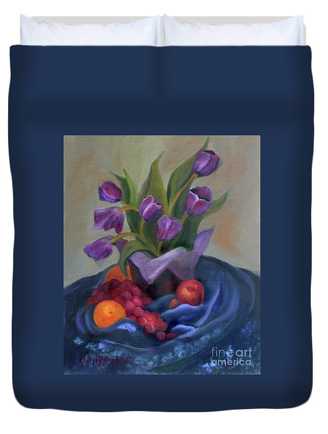 Still Life Duvet Cover featuring the pastel Purple Tulips On Blue Fabic by Cheryl Yellowhawk