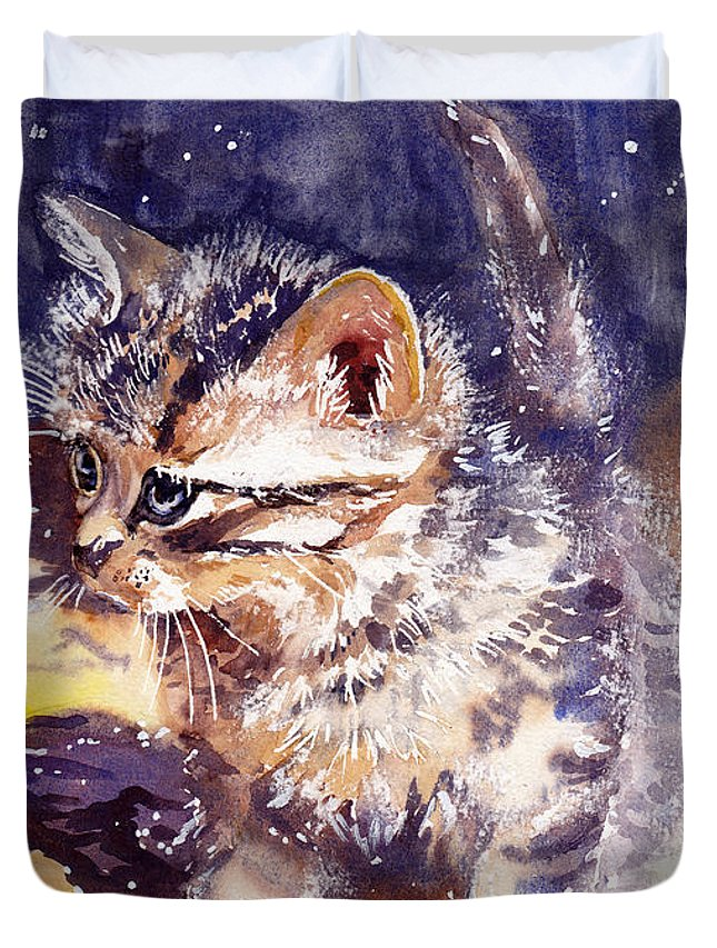Little Duvet Cover featuring the painting Pussy On A Yellow Blanket by Suzann Sines