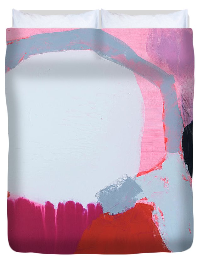 Abstract Duvet Cover featuring the painting Pussycats In Pussy Hats by Claire Desjardins