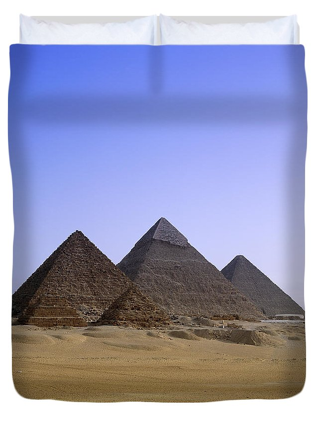 Clear Sky Duvet Cover featuring the photograph Pyramids In Desert Landscape, Close Up by Stephen Studd
