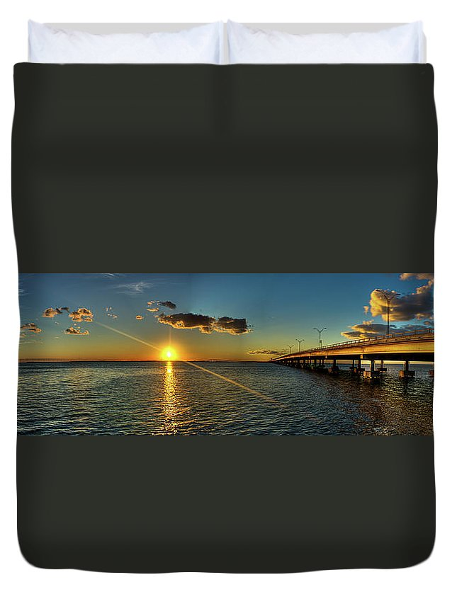 Panoramic Duvet Cover featuring the photograph Queen Isabella Causeway by Joshua Bozarth