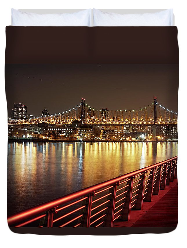 Built Structure Duvet Cover featuring the photograph Queensboro Bridge At Night by Allan Baxter