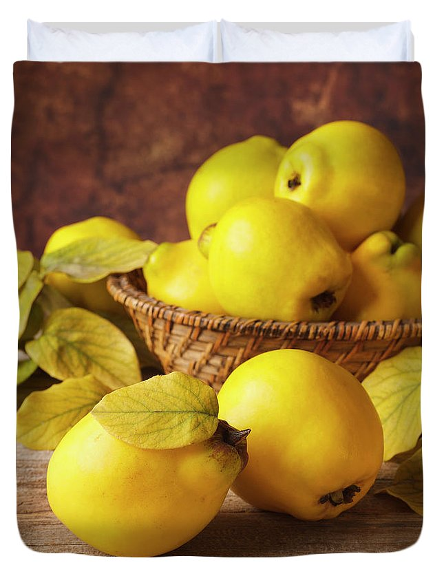 Quince Duvet Cover featuring the photograph Quinces by Syolacan