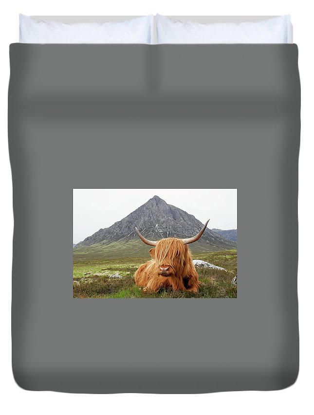 Horned Duvet Cover featuring the photograph Quintessential Scotland by Thedman