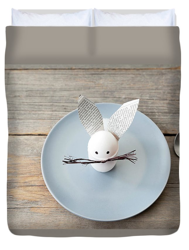 Holiday Duvet Cover featuring the photograph Rabbit Decoration On Plate by Stefanie Grewel