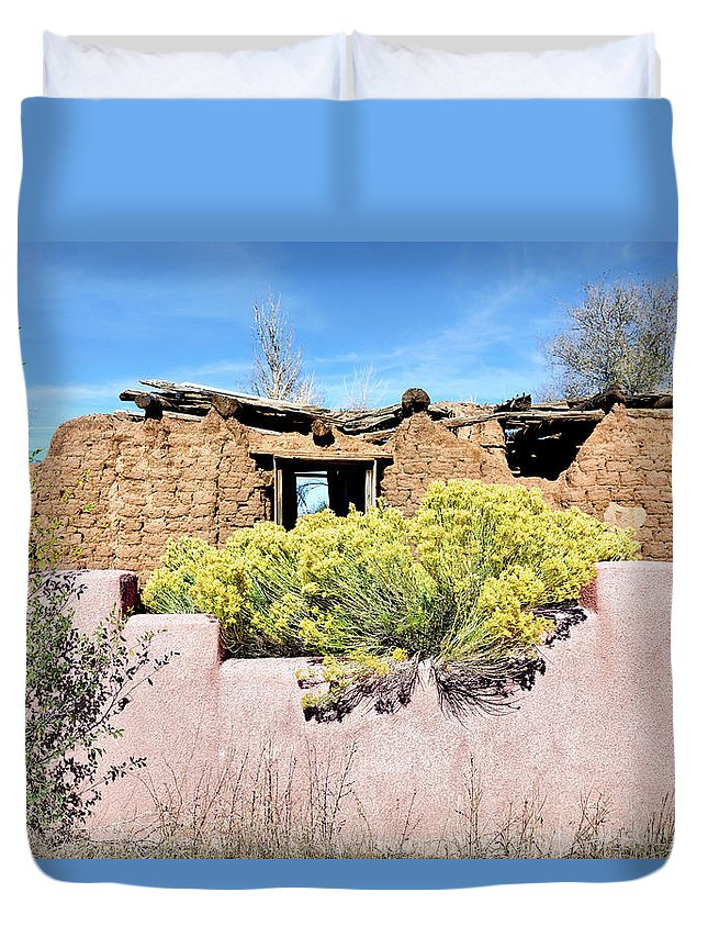 Ruins Duvet Cover featuring the photograph Rabbitbrush And Adobe Ruins by Kathleen Bishop