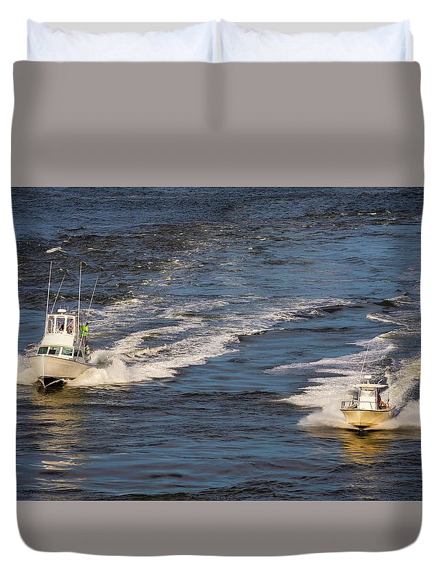 Boats Duvet Cover featuring the photograph Racing To The Harbor by David Kay