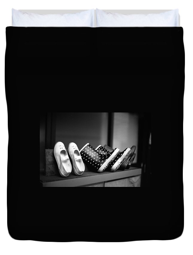 In A Row Duvet Cover featuring the photograph Rain Shoes by Snap Shooter Jp