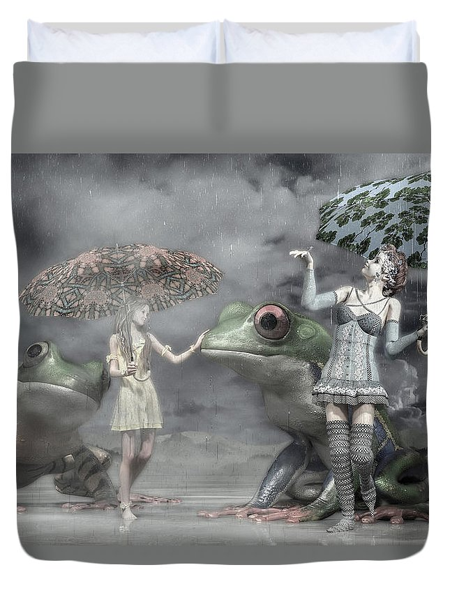Frog Duvet Cover featuring the digital art Rainy Day Daydream by Betsy Knapp