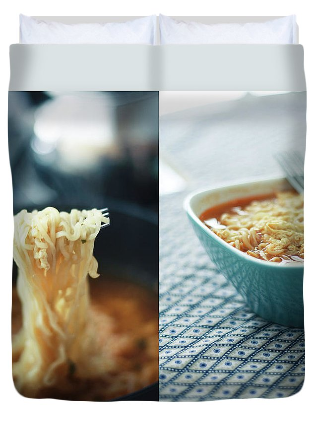 Kitchen Duvet Cover featuring the photograph Ramen Noodles Diptych by Alice Gao Photography