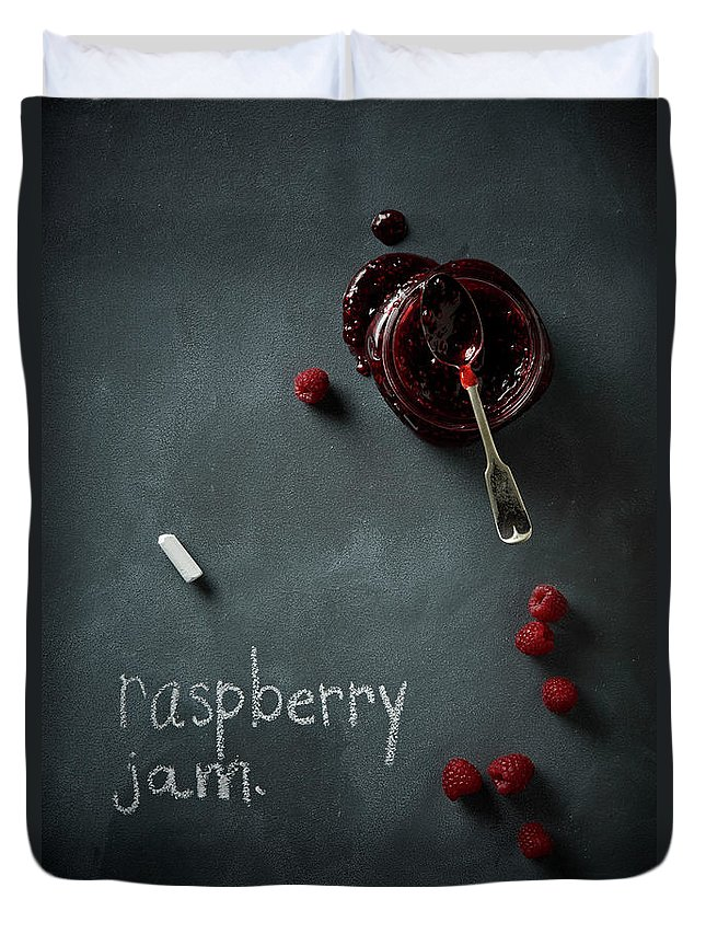 Spoon Duvet Cover featuring the photograph Raspberry Jam by Lew Robertson
