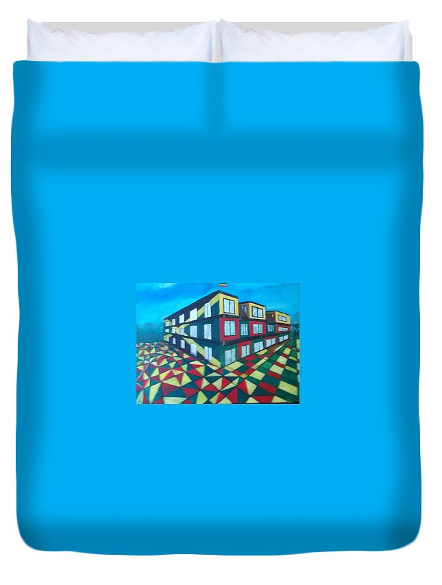 Rasta Art Duvet Cover featuring the painting Rasta Academy by Andrew Johnson