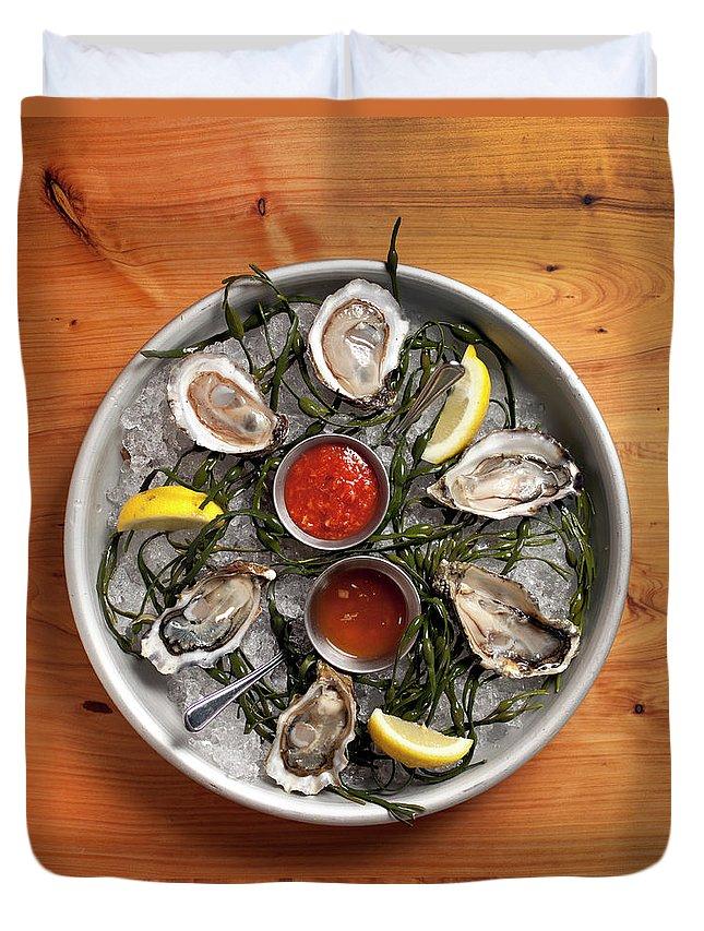 Oyster Duvet Cover featuring the photograph Raw Oyster Platter by Lara Hata