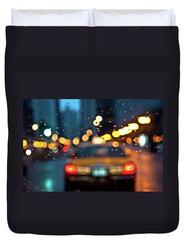 Car Interior Duvet Cover featuring the photograph Raw, Wet & Cold by Romeo Banias