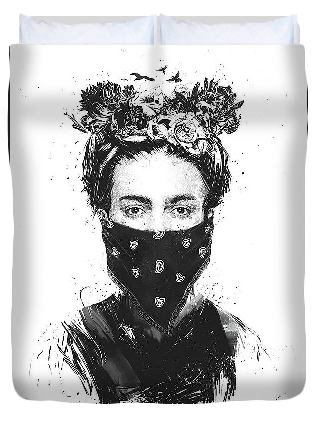 Girl Duvet Cover featuring the drawing Rebel girl by Balazs Solti
