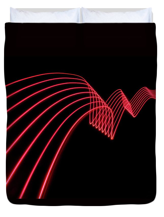 Laser Duvet Cover featuring the photograph Red Abstract Coloured Lights Trails And by John Rensten