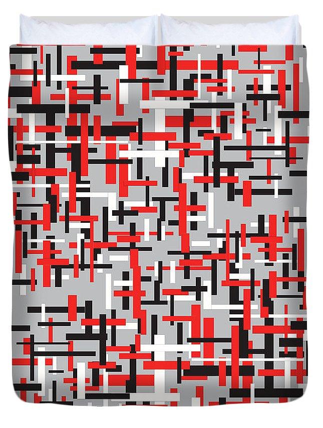 Art Duvet Cover featuring the digital art Red Black White Geometric by Teguh Nurcahyadi