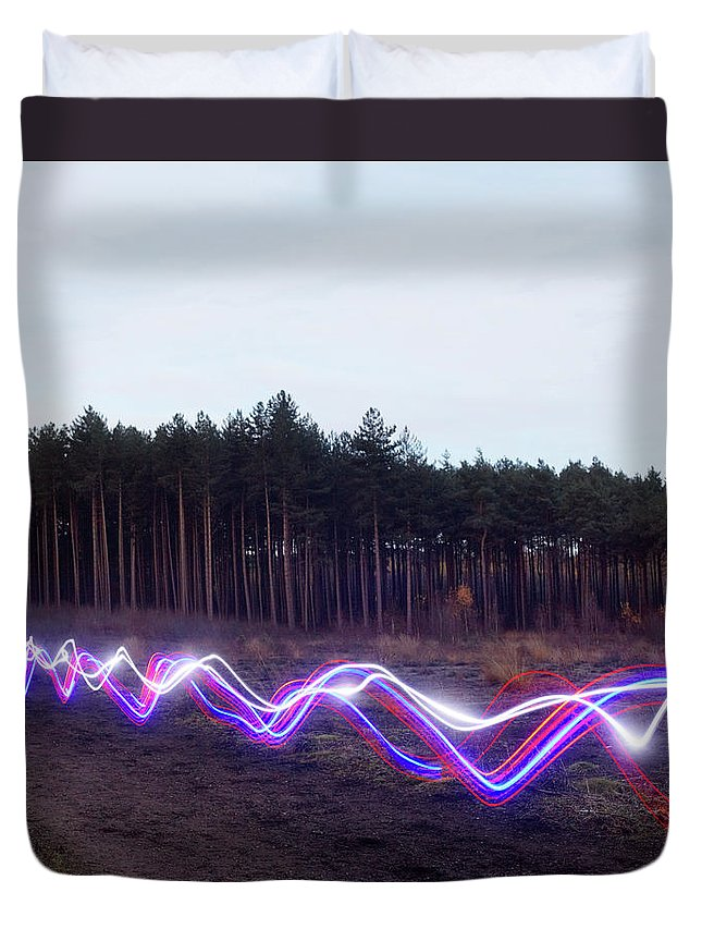 Internet Duvet Cover featuring the photograph Red, Blue And White Light Trails On by Tim Robberts