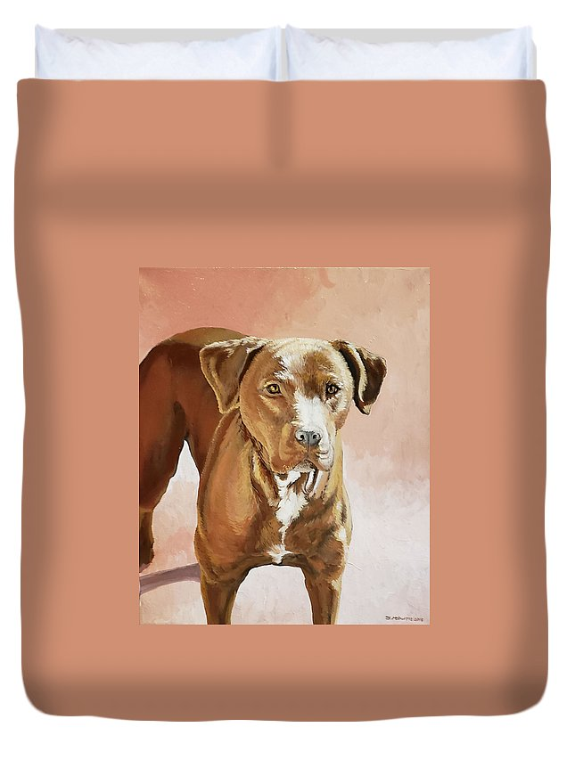 Pet Portrait Duvet Cover featuring the painting Red Bull by Jennifer McDuffie