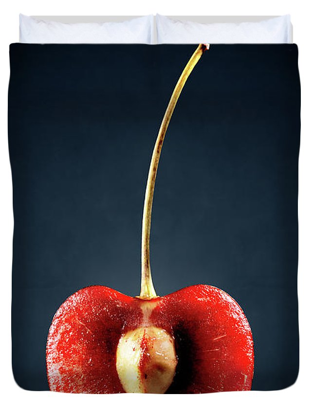 Cherry Duvet Cover featuring the photograph Red Cherry Still Life by Johan Swanepoel
