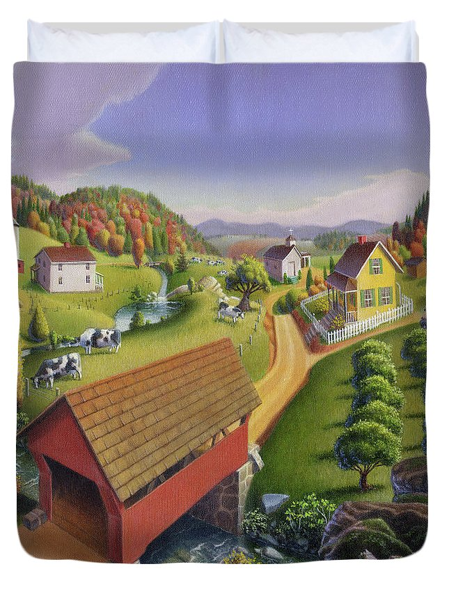 Red Duvet Cover featuring the painting Red Covered Bridge Country Farm Landscape - Square Format by Walt Curlee